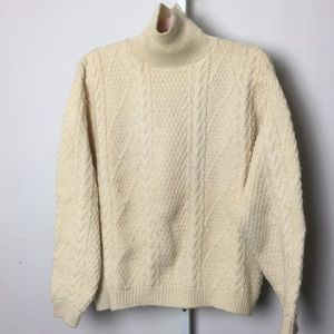 Vintage chunky cable knit mock turtleneck sweater